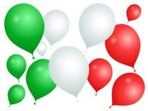 Μπαλόνια στα χρώματα της Ιταλίας σε ένα άσπρο υπόβαθρο διανυσματική απεικόνιση