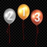 Μπαλόνια χρυσού, ασημιών και χαλκού με τις κόκκινες κορδέλλες επίσης corel σύρετε το διάνυσμα απεικόνισης διανυσματική απεικόνιση