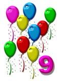 μπαλόνια colorfull εννέα απεικόνιση αποθεμάτων