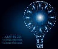 Μπαλόνι ζεστού αέρα, πολύγωνο, μπλε, αστέρια 1 διανυσματική απεικόνιση