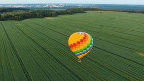 Μπαλόνι ζεστού αέρα στον ουρανό πέρα από έναν τομέα Στοκ Εικόνα