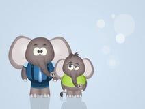 Μπαμπάς ελεφάντων με το γιο Στοκ Εικόνες