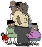 Μπαμπάς ημέρας πατέρων με τα παιδιά του απεικόνιση αποθεμάτων