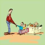 Μπαμπάς και παιδιά Στοκ Εικόνες