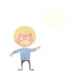 μπαμπάς κινούμενων σχεδίων που κυματίζει με τη σκεπτόμενη φυσαλίδα Στοκ φωτογραφίες με δικαίωμα ελεύθερης χρήσης