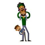 Μπαμπάς που κρατά το γιο και την κόρη του στο απομονωμένο άσπρο υπόβαθρο διανυσματική απεικόνιση