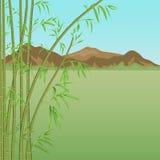 Μπαμπού και βουνά διανυσματική απεικόνιση