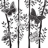 Μπαμπού και πεταλούδες Στοκ Εικόνα