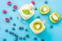 Μπανάνα δύο και ακτινίδιο milkshakes στα βάζα κτιστών με creme στην κορυφή που διακοσμείται με τα σμέουρα και τα βακκίνια επίπεδο στοκ εικόνες