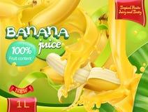 Μπανάνα με το φρέσκο χυμό γάλακτος Γλυκοί τροπικοί καρποί τρισδιάστατο διάνυσμα ελεύθερη απεικόνιση δικαιώματος