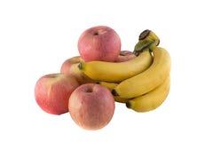 Μπανάνα της Apple που απομονώνεται στο λευκό Στοκ Εικόνες