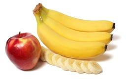 Μπανάνα το κόκκινο μήλο που απομονώνεται με στο λευκό στοκ εικόνα με δικαίωμα ελεύθερης χρήσης