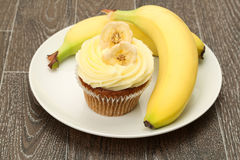 Μπανάνα cupcake Στοκ εικόνα με δικαίωμα ελεύθερης χρήσης