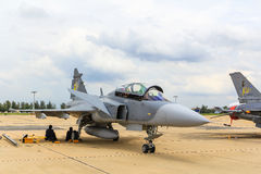 ΜΠΑΝΓΚΟΚ - 30 ΙΟΥΝΊΟΥ: JAS 39 Gripen Στοκ Φωτογραφία