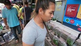 Μπανγκόκ, Ταϊλάνδη - 11 Μαρτίου 2017: Τα ψάρια στη πλαστική τσάντα για πωλούν στη ζωική ζώνη σε Chatuchak, η μεγαλύτερη αγορά Σαβ απόθεμα βίντεο