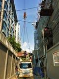 Μπανγκόκ, 25,2018 Ταϊλάνδη-Σεπτεμβρίου δραστηριότητες εργατών οικοδομών σε ένα εργοτάξιο οικοδομής στοκ εικόνες
