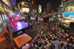 Μπανγκόκ/Ταϊλάνδη - 01 14 2014: Τα κίτρινα πουκάμισα εμποδίζουν και καταλαμβάνουν Asok ως τμήμα της λειτουργίας της Μπανγκόκ ` κλ Στοκ εικόνες με δικαίωμα ελεύθερης χρήσης