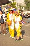 Μπανγκόκ/Ταϊλάνδη - 01 13 2014: Τα κίτρινα πουκάμισα εμποδίζουν Asok ως τμήμα της λειτουργίας της Μπανγκόκ ` κλεισίματος ` Στοκ Εικόνα