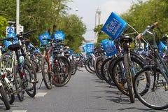 """Μπανγκόκ, Ταϊλάνδη, στις 16 Αυγούστου - 2015: """"Bike το ιστορικό γεγονός Mom† που τίθεται ως στόχος για να αρχίσει το παγκόσμ Στοκ Φωτογραφίες"""