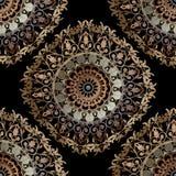Μπαρόκ άνευ ραφής σχέδιο mandalas κεντητικής Διανυσματική ζωηρόχρωμη floral διακόσμηση ταπήτων E Κεντημένος περίκομψος τρύγος ελεύθερη απεικόνιση δικαιώματος