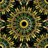 Μπαρόκ άνευ ραφής σχέδιο mandalas κεντητικής Διανυσματική ζωηρόχρωμη floral διακόσμηση ταπήτων E Κεντημένος περίκομψος τρύγος διανυσματική απεικόνιση