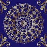 Μπαρόκ άνευ ραφής σχέδιο mandalas κεντητικής Διανυσματική χρυσή floral διακόσμηση ταπήτων E Κεντημένος περίκομψος τρύγος ελεύθερη απεικόνιση δικαιώματος