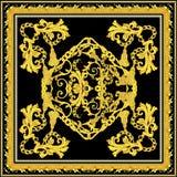Μπαρόκ με το χρυσό σχέδιο μαντίλι ελεύθερη απεικόνιση δικαιώματος