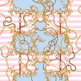 Μπαρόκ μπάλωμα με τις χρυσές αλυσίδες και τις ζώνες Άνευ ραφής σχέδιο για τα μαντίλι, τυπωμένη ύλη, ύφασμα απεικόνιση αποθεμάτων