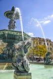 Μπαρόκ πηγή ύφους σε Rossio τετραγωνική Λισσαβώνα στοκ φωτογραφία με δικαίωμα ελεύθερης χρήσης