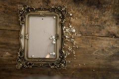 Μπαρόκ πλαίσιο φωτογραφιών με τα μαργαριτάρια Στοκ εικόνες με δικαίωμα ελεύθερης χρήσης