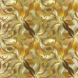 Μπαρόκ φυλλώδες χρυσό τρισδιάστατο άνευ ραφής σχέδιο ύφους Διανυσματική πλάτη φθινοπώρου Στοκ Εικόνες