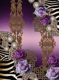 Μπαρόκ χρυσός τυπωμένων υλών λουλουδιών ιώδης ζωικός στοκ εικόνα με δικαίωμα ελεύθερης χρήσης