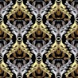 Μπαρόκ χρυσό ασημένιο διανυσματικό άνευ ραφής σχέδιο Παλαιά floral πλάτη ελεύθερη απεικόνιση δικαιώματος