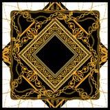 Μπαρόκ χρυσό σχέδιο σχεδίων μαντίλι αλυσίδων διανυσματική απεικόνιση