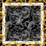 Μπαρόκ χρυσό υπόβαθρο αλυσίδων Χρυσή καρδιά σχέδιο αγάπης διανυσματική απεικόνιση