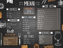 Μπαρ μπύρας ή πρότυπο επιλογών φραγμών με συρμένες τα χέρι τρόφιμα και την μπύρα διανυσματική απεικόνιση