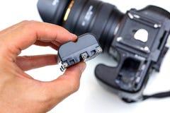Μπαταρία για τη κάμερα DSLR Στοκ Φωτογραφίες