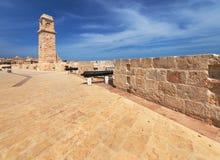 Μπαταρία Νο 2 του οχυρού Άγιος Angelo στη Μάλτα Στοκ Φωτογραφία