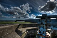 Μπαταρία πυροβόλων όπλων Δεύτερου Παγκόσμιου Πολέμου Στοκ Εικόνα