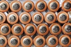 Μπαταρίες AA που βλέπουν άνωθεν Στοκ Εικόνα