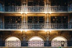 Μπαλκόνια μέσα στη βιβλιοθήκη Peabody στο όρος Βέρνον, Βαλτιμόρη, στοκ εικόνες