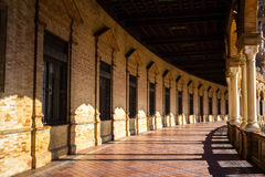 Μπαλκόνι στο τετράγωνο της Ισπανίας στη Σεβίλη, Ισπανία Στοκ Εικόνες