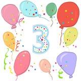 μπαλονιών γενεθλίων μπλε τρίτο λευκό τρία αριθμού χρώματος ευτυχές απομονωμένο Ζωηρόχρωμη ευχετήρια κάρτα μπαλονιών Στοκ Εικόνες
