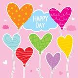 Μπαλονιών διανυσματικό σχέδιο χαρακτήρα κινουμένων σχεδίων καρδιών ζωηρόχρωμο απεικόνιση αποθεμάτων