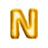 Μπαλονιών ρεαλιστικό αλφάβητο φύλλων αλουμινίου γραμμάτων Ν τρισδιάστατο χρυσό Στοκ Εικόνα