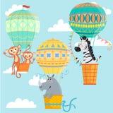 Μπαλόνια ζεστού αέρα με τα ζώα Στοκ Φωτογραφία