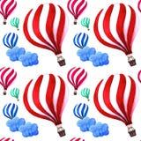 Μπαλόνια ζεστού αέρα με το χαριτωμένο σχέδιο σύννεφων Φωτεινό σχέδιο χρωμάτων Στοκ φωτογραφίες με δικαίωμα ελεύθερης χρήσης