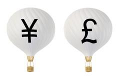 Μπαλόνια ζεστού αέρα νομίσματος bw: Γεν και λίβρα Διανυσματική απεικόνιση