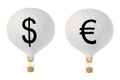 Μπαλόνια ζεστού αέρα νομίσματος bw: Δολάριο και ευρώ Απεικόνιση αποθεμάτων
