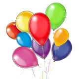 Μπαλόνια ζωηρόχρωμα στο λευκό απεικόνιση αποθεμάτων